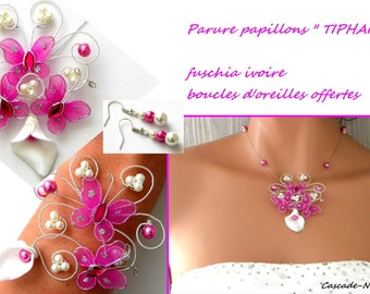 Bridal finery Butterfly Tiphaine ivory arum fuschia flower silver Pearl Bridal