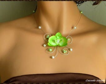 Necklace Orchid Eva Green lime white bridal Pearl silver foil wedding