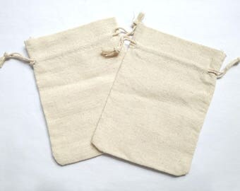 2 Plain Muslin Cotton Bag with Drawstring Satin Bag Large Pouch-12x10cm/5x4 inches