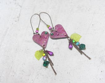 Earrings pink heart and leaf unique by Little Valentine