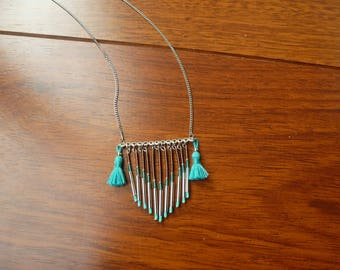 Mid-long silver color Indian-inspired necklace