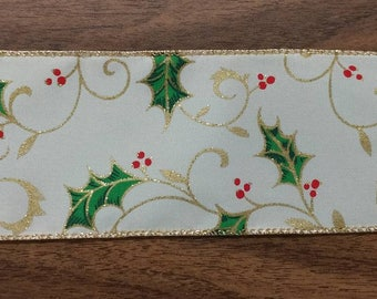 "FREE SHIPPING- 2.5"" Wired Sparkly Ivory Holly Berry Christmas Ribbon - 10 Yards"