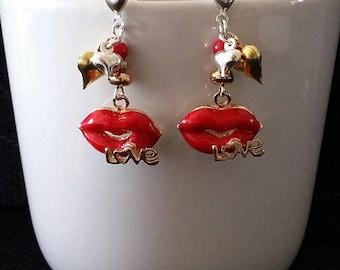 """Love kiss"" earrings 3.5 cm"
