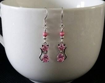 """""""Pink cat"""" earrings 4 cm"""