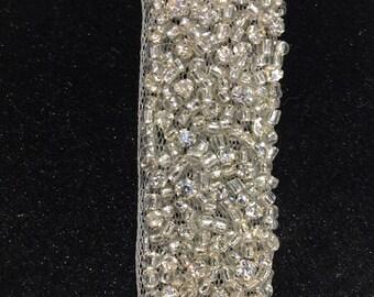 1 yard Rhinestone trim,Applique trim,Bridal Applique,DIY Weddings, Trim, Rhinestone applique, Crystal sash, Bridal sash hand made #81172/HBT