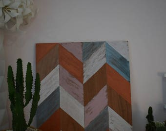 painting on wooden stand, geometric
