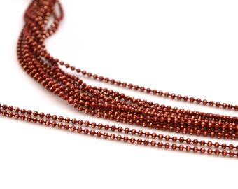 chain 50cm 1.2 mm metal dark red Burgundy and gold beads