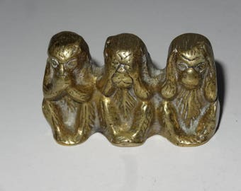 Vintage Miniature Brass 3 Wise Monkeys. Hear No, Speak No, See No Evil