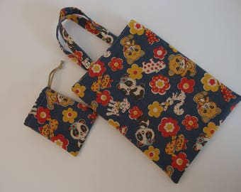 Set of two: small bag Tote and animal pattern case
