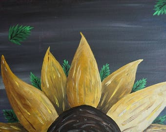 Sunflower on Grey Acrylic Painting