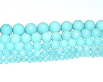 (JADE) semi-precious stone bead - round, faceted (14mm) - Iceland - PSPJARD1415TUL496 blue