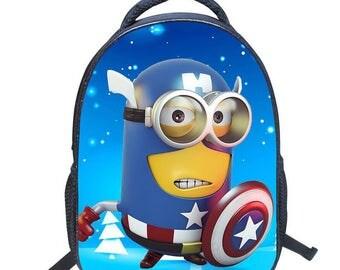 Minions Backpack Captain America Minions School Bag Student Backpack Kids Waterproof Nylon Bagpack For Boys Girls