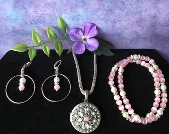 Grey Locket Necklace, Bracelet, Earring  Trio Set
