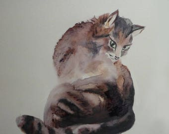 reproduction of one of my drawings of cats: careful