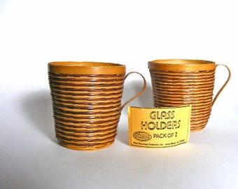 Vintage Set of 2 Wicker Glass Holders | California | Boho Wicker Planters | Boho Wicker Cups | Paul Marshall