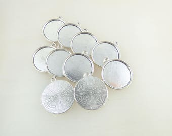10 supports silver 20MM cabochon pendants