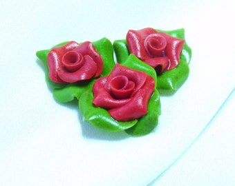 Mini-cabochons roses and leaves set of 3