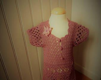 Nice straight dress with crochet cotton Burgundy