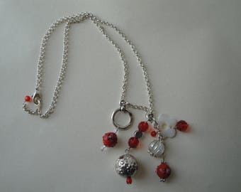 Silver Pendant chain necklace red beads
