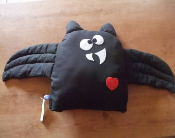 Black cotton and felt bat pillow