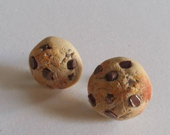 chocolate chip cookie ear studs