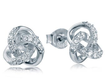 925 Sterling Silver Infinity Love Knot Cubic Zirconia CZ Earrings Studs S3543
