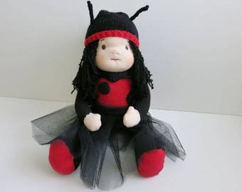 Handmade Rag doll//ladybug made of cotton, sheep wool and organic wool//gift for children and girl