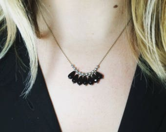 Necklace chain on black agate 925 sterling silver