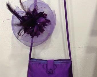 Purple and mauve silk pouch