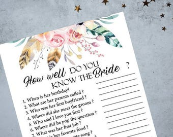 Boho Floral How Well Do You Know The Bride Bridal Shower Game, Bachelorette Party Game, Printable Bachelorette Game, Hens Night Game