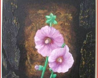 'Pink Hollyhock' oil on prepared canvas painting