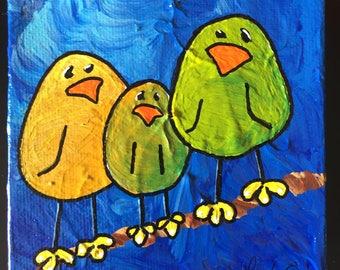 LIME BIRDS ~ Whimsical Bird Art w Personality ~ Colorful Birds ~ Joyful Art ~ Cheerful Gift ~ Unique Custom Birds ~ LimbBirds