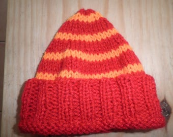 Wool two-tone red and orange baby Hat