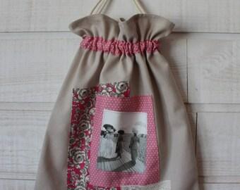 Lingerie bag / pouch (No. 157) pink Womens vintage picture