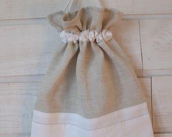 Lingerie bag / pouch (No. 158) linen & white