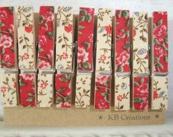 9 MINI clothespins decorated linen (No. 43) Red & beige liberty