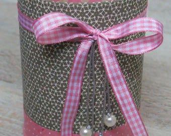 Pencil holder (No. 120) pink & khaki