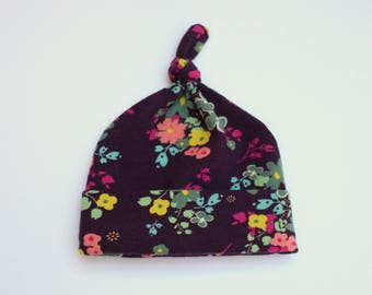 purple floral knit knotted baby girl hat