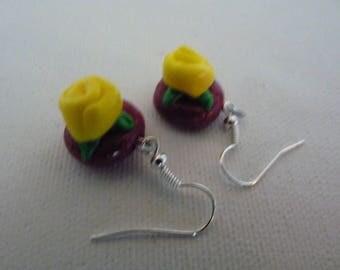 Yellow roses earrings