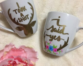 Engagement gift for couple, engagement gift, engagement mug, his and hers mugs, engagement gifts for best friend, mugs for wedding favor