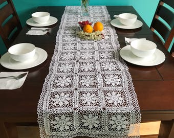 Crochet handmade table runner, white new tablecloth