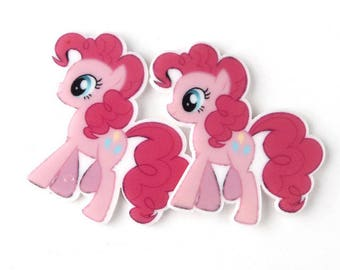 5 applique Pink Pony figurine, resin cabochon