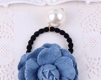 hair accessories, elastic with denim and White Pearl flower