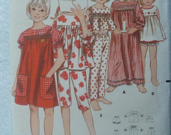 Girl's, Children's Nightgown Pattern, Vintage Butterick 3743, Size 12 - Pattern is Incomplete