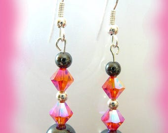 hematite and fuchsia swarovski crystal earrings