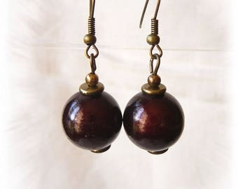 earrings with chocolate brown miracle beads