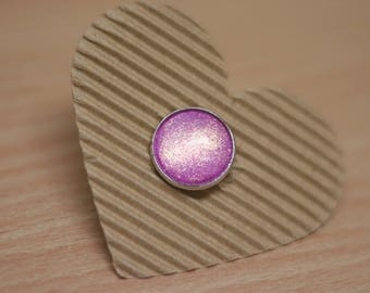 Ring cabochon 18mm pink pink glitter