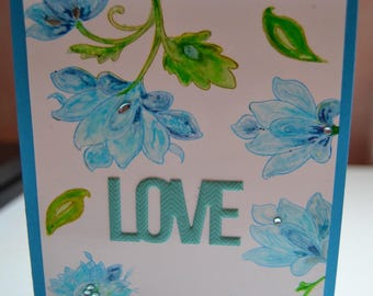 Valentine's Day card LOVE blue watercolor flowers