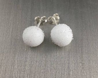 These frosted white glass stud earrings. Lampwork Glass Beads