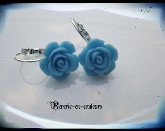 resin Blue Flower Earrings